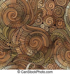 Vector spiral decorative doodles seamless pattern - Vector...
