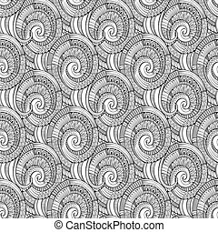 Vector spiral decorative doodles pattern - Vector abstract...