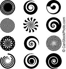 Vector spiral elements. Spiral swirl icon circular, twirl...