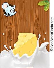 vector splash of milk with cheese,