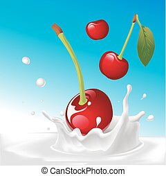 vector splash of milk with cherry - illustration with blue background