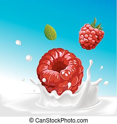 vector splash of milk with raspberry - illustration with blue background