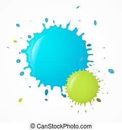 Vector Splashes - Splatters. Blue and Green Blots.