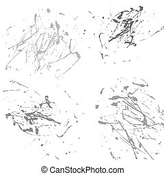 Vector splatter paint abstract on white background set hand draw