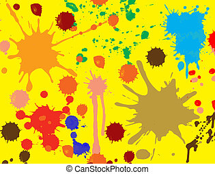 Vector splatter paint, brush abstract seamless background. Fluid ink wallpaper on yellow.