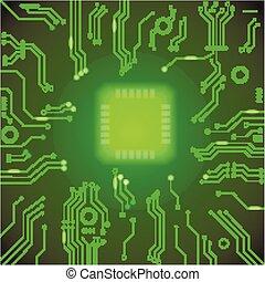 vector, splinter, moederbord, illustratie, ontwerp, achtergrond., computer, groene, plank, circuit, bewerker, cpu