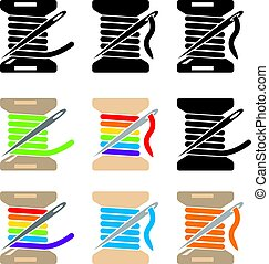 vector spool icons with sewing needle and thread