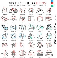 Vector Sport and Fitness ultra modern color outline line icons for apps and web design.