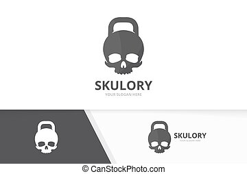 Vector sport and skull logo combination. Gym and dead symbol or icon. Unique fitness and head logotype design template.