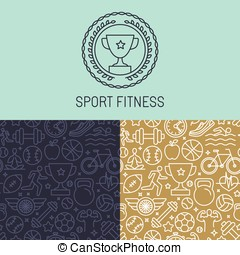 Vector sport badge and seamless pattern in trendy mono line...