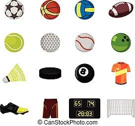 Vector sport balls flat icon set
