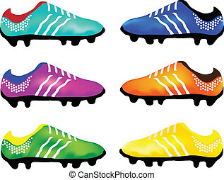 Light Blue, Purple, Green, Blue, Orange and Yellow Color of Studded Shoes or Soccer Shoes