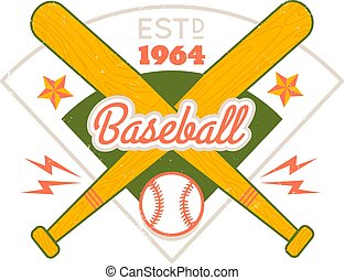 Vintage vector emblem for baseball.