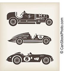 Vector sport vintage racing cars