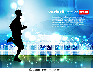 vector, sportende, illustratie
