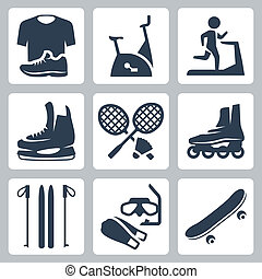 Vector sports goods icons set: sportswear, stationary bicycle, treadmill, skates, rackets and shuttlecock, roller skates, skis, diving mask and flippers, skateboard