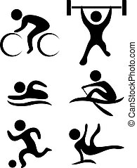vector sports symbols: bicycle, weightlifting, swimming, soccer ball, gymnastics, rowing