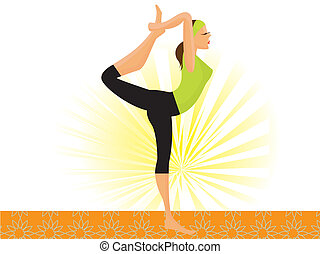 vector sporty girl practicing natarajasana lord of the dance pose