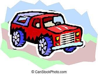 vector, spotprent, 4x4, auto.