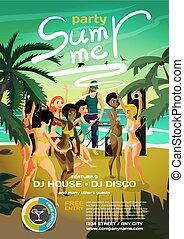 vector, spotprent, disco, dj, illustratie, jonge, dans, zomer, sunset., bikini, dancing, vrouwen zet op het strand, plat, uitrusting, zijn, partij., music.