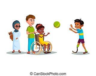 vector, spotprent, invalide, tiener, geitjes, spelend, set