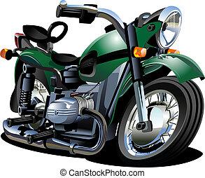 vector, spotprent, motorfiets