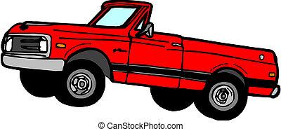 vector, spotprent, pickup, ophaling, afhaling