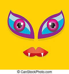 vector, spotprent, sinaasappel, monster, gezicht