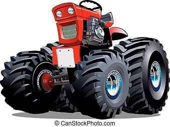 vector, spotprent, tractor