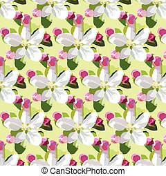 Spring Apple or Cherry flowers blossom pattern