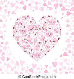 Vector spring background with gentle heart from cherry flowers and petals, isolated on the white background