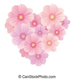 Vector spring background with gentle heart from flowers and petals, isolated on the white background
