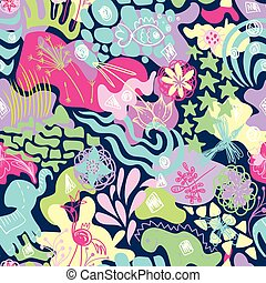 Vector Spring Cheerful Textile Pattern