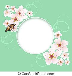 vector spring greeting card with cherry flowers
