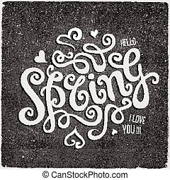 Vector Spring hand lettering chalk board background - Vector...