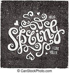 Vector Spring hand lettering chalk board background - Vector...