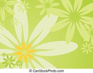 vector spring illustration with flower on green background