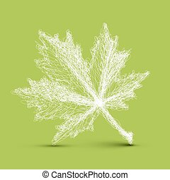 Vector spring leaf - continuous line drawing