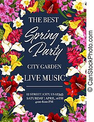 Spring time music festival invitation poster or card for city garden seasonal holiday event. Vector design of floral bunches and frame wreath of spring daffodil, lilac or hibiscus blooming flowers