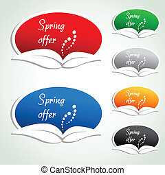Vector spring offer labels - oval stickers