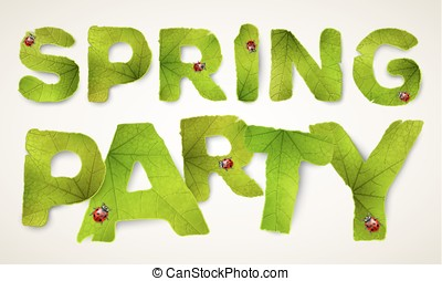 Vector Spring Party words, made from green leaves