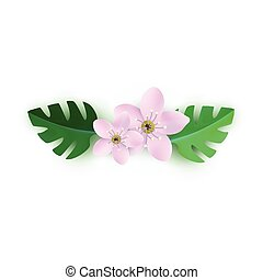 Vector spring pink flowers with leaves pattern