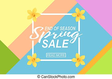 Vector Spring Sale Banner, Sale Poster, Sale Flyer with geometric background and yellow daffodils.