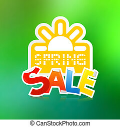 Vector Spring Sale Theme with Paper Sun on Green Background