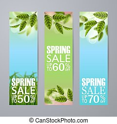 Vector spring sale vertical banner with grass, green leafs, inscription.