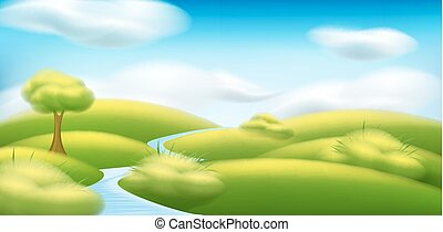 Vector spring-summer landscape. Illustration with trees, clouds, green grass, meadow