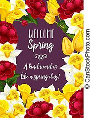 Vector spring time blooming flowers greeting card