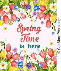 Vector Spring time flowers greeting card