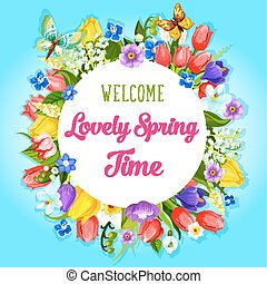Vector spring time flowers greeting poster