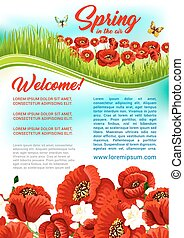 Vector spring time flowers holiday greeting poster
